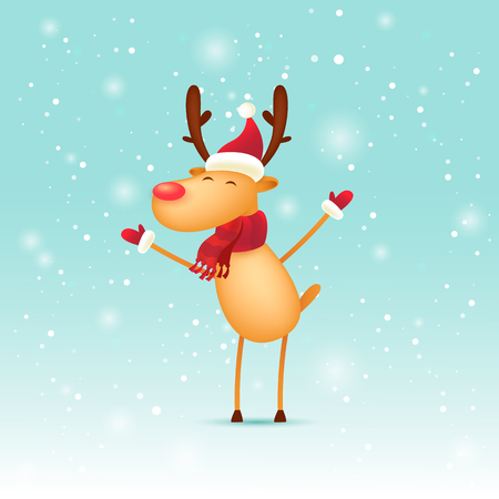 Joyful Deer. Merry Christmas and Happy new year. Flat design vector illustration.