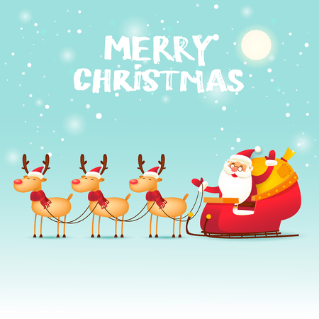 Santa Claus goes in a sleigh drawn by a deer. Merry Christmas and Happy new year. Flat design vector illustration.