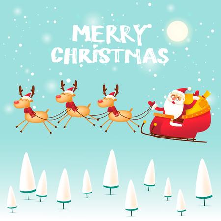 Santa Claus gaat in een slee getekend door een hert. Vrolijk kerstfeest en een gelukkig nieuwjaar. Platte ontwerp vectorillustratie. Stockfoto - 89272125