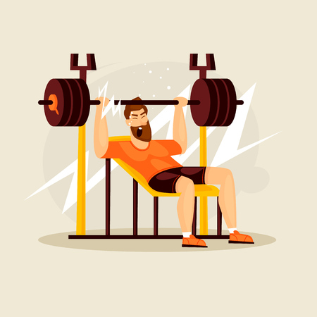 Guy lifts the barbell. Flat design vector illustration.