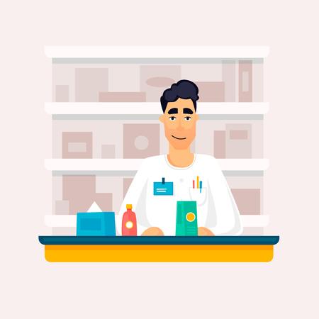 Pharmacy, seller. Flat design vector illustration.