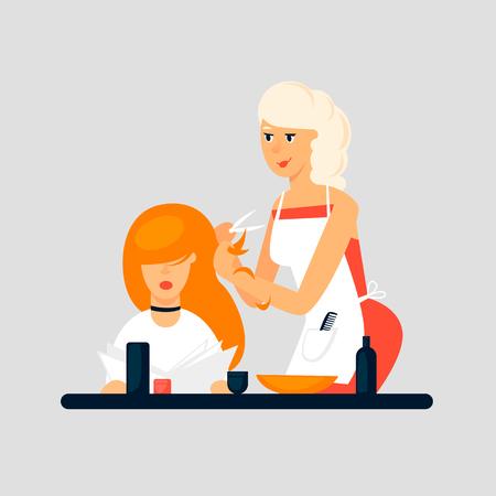 Hairdresser, girl shears a client. Flat design vector illustration. Ilustrace