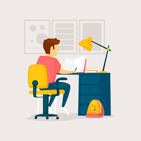 Boy is doing his homework. Flat design vector illustration. Ilustracja