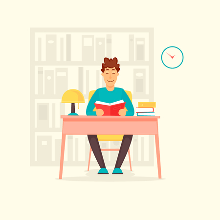 Guy in the library. Flat design vector illustration.