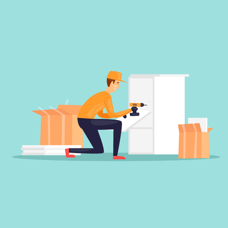 Collector of furniture. Flat design vector illustration. Çizim