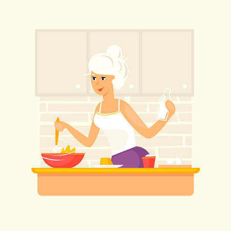 Blonde young. Girl preparing food, cake, pie, in the kitchen. Flat design vector illustration.