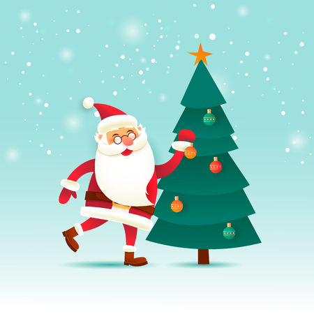 サンタクロースがクリスマスツリーをドレスアップ。メリークリスマスとハッピーニューイヤー。ポスター。フラットデザインベクトルイラスト。