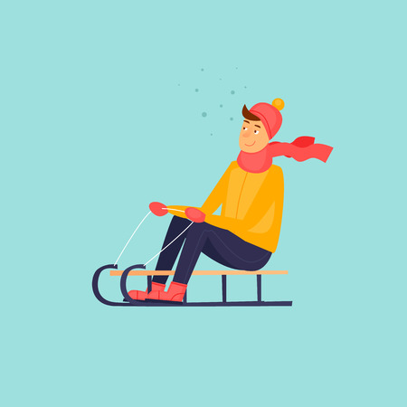 Boy is riding a sled. Illustration