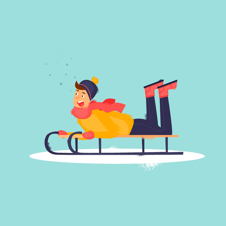 Boy is riding a sled lying on his stomach. Winter snow. Flat design vector illustration. Imagens - 89623990