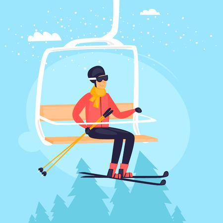 리프트를 타는 스키어. 겨울 스포츠, 산입니다.