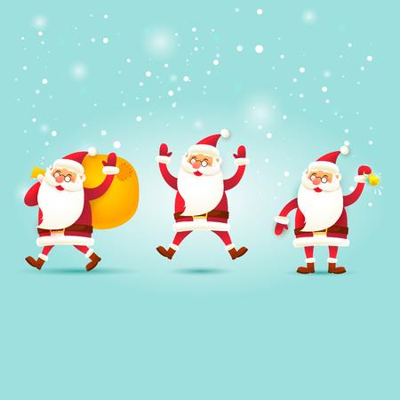 Papá Noel. Feliz navidad y próspero año nuevo. Juego de caracteres. Ilustración de vector de diseño plano. Foto de archivo - 89616060