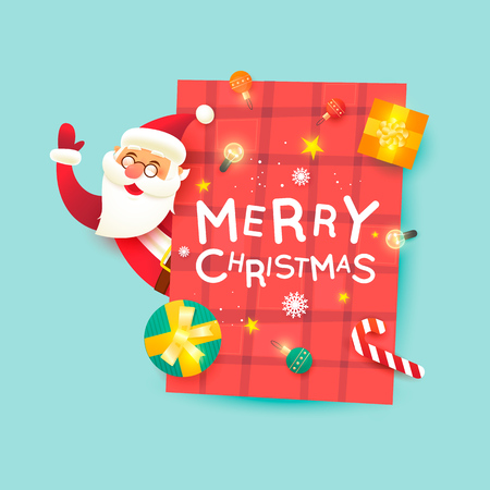 Santa Claus. Merry Christmas and Happy new year. Poster. Flat design vector illustration. Illustration