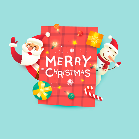 Santa Claus and snowman. Merry Christmas and Happy new year. Flat design vector illustration. Stock fotó - 89922934