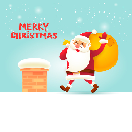 Santa Claus with a bag walking on the roof. Merry Christmas and Happy new year. Flat design vector illustration. Banco de Imagens - 89860193