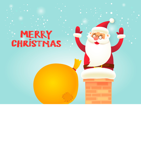 Santa Claus stuck in the pipe. Merry Christmas and Happy new year. Flat design vector illustration. Ilustracja