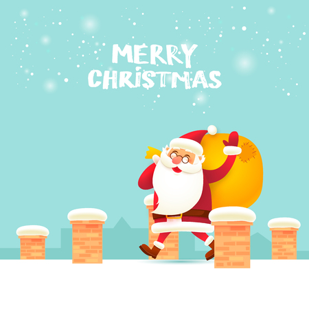 Santa Claus with a bag walking on the roof. Merry Christmas and Happy new year. Flat design vector illustration.