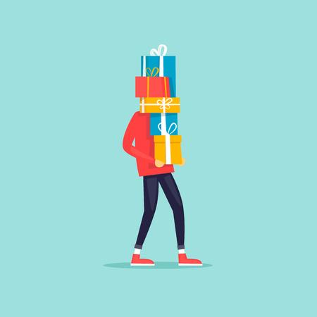 メリー クリスマスと幸せな新年。ギフト用の箱の背の高いスタックを運ぶ人。フラットなデザインのベクトル図です。  イラスト・ベクター素材