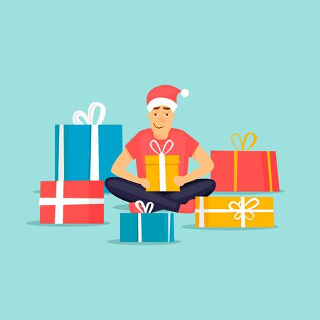 Merry Christmas and Happy new year. Guy is holding a present. Flat design vector illustration. Illusztráció