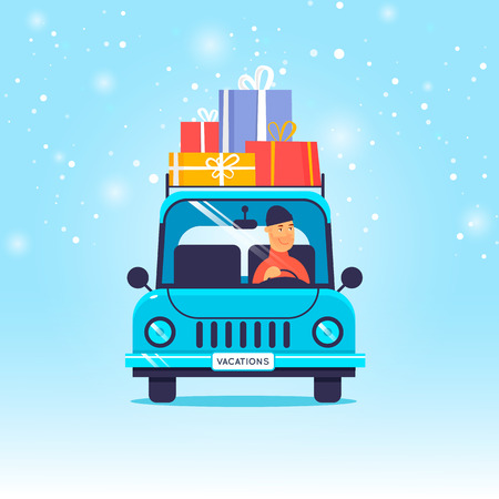Merry Christmas and Happy new year. Guy carries gifts on the car. Flat design vector illustration. Illustration