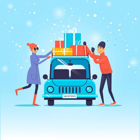Vrolijk kerstfeest en een gelukkig nieuwjaar. Het paar laadt giften op de auto. Platte ontwerp vectorillustratie. Stock Illustratie