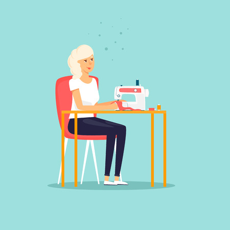Seamstress is sewing at the table. Flat design illustration. Иллюстрация