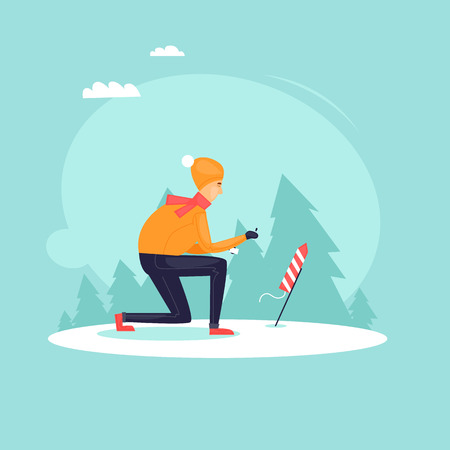 Young guy launching fireworks. Christmas salute. Happy new year. Flat design illustration. Illustration