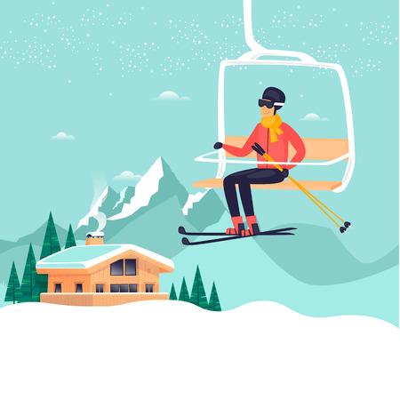 De jonge kerel berijdt een skilift in de bergen, ski? End. Winter vakantieseizoen. Hotel. Platte ontwerp vectorillustratie.