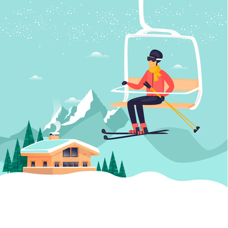 Young guy is riding a ski lift in the mountains, skiing. Winter holiday season. Hotel. Flat design vector illustration.