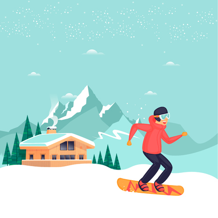 Guy in the mountains goes for a snowboard, a chalet winter holiday season. Flat design vector illustration. 向量圖像
