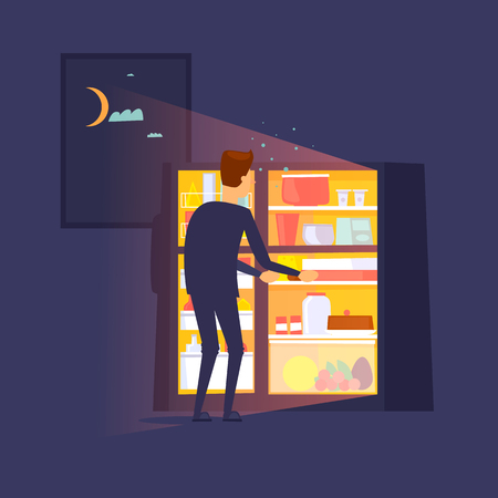 Guy climbed into the refrigerator at night. Flat design illustration. Vectores