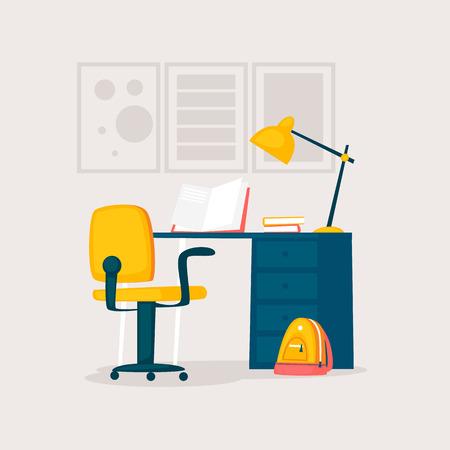 Table for homework. Flat design illustration. Illusztráció