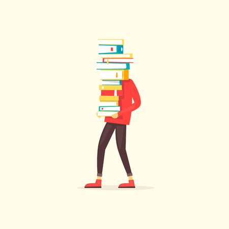 Guy carries a pile of books. Flat design vector illustration.