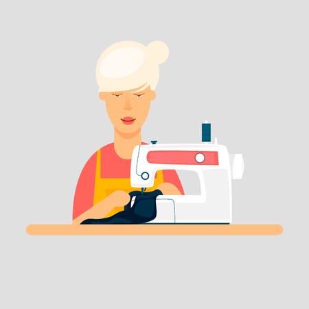 Seamstress sews a sewing machine. Flat design vector illustration. Ilustração