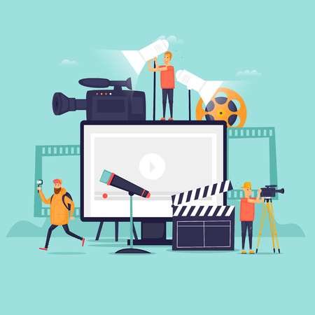 Videography, shooting film in studio. Flat design vector illustration. 版權商用圖片 - 90527605