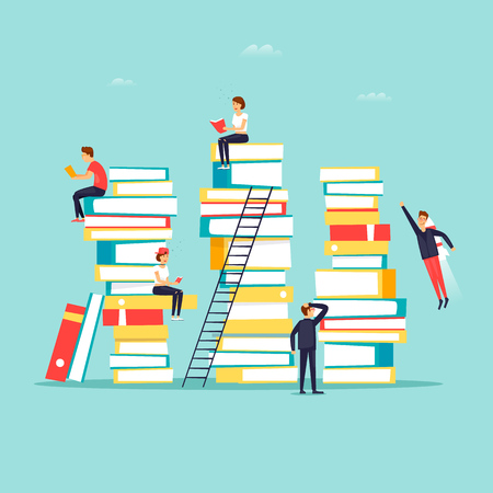 Reading books, library. Flat design vector illustration.