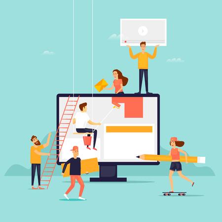 Menschen bauen Website. Flache Designvektorillustration. Vektorgrafik
