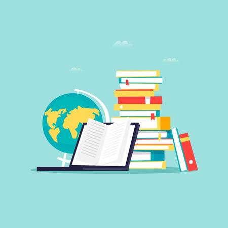 Online library, e-books. Flat design vector illustration. Illustration