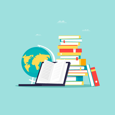 Online library, e-books. Flat design vector illustration. Illustration