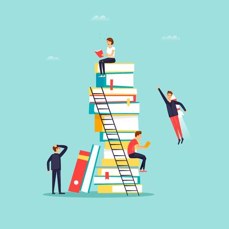 Reading books, library. Flat design vector illustration.