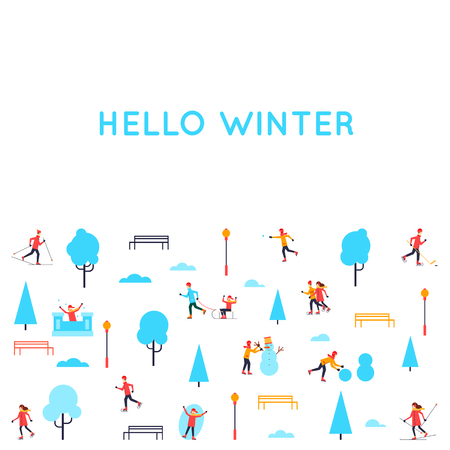 Winter people in the park. Season outdoors leisure activities. Playing in snow. Flat design vector illustration. Illustration