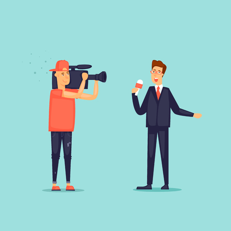 Journalists. Cameraman and reporter. Operator removes news. Flat design vector illustration.