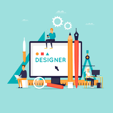 Designer workplace and tools. Flat design vector illustration.