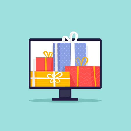 Online sale, cyber Monday. Computer with gifts. Flat design vector illustration.