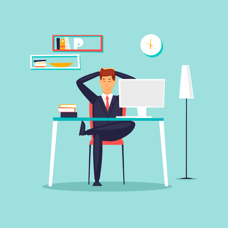 Happy businessman working in the office at the computer, workplace, interior. Flat design vector illustration.