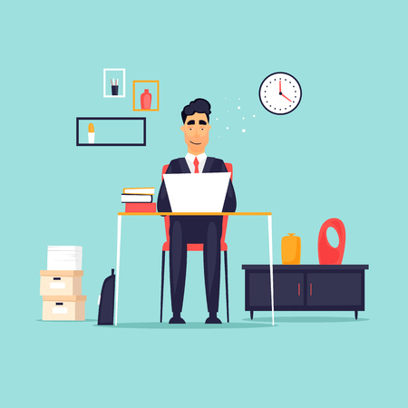 Businessman working in the office at the computer, workplace, interior. Flat design vector illustration.