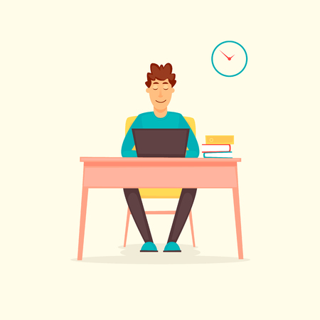 Guy working at a computer, business, office, programmer. Flat design vector illustration.