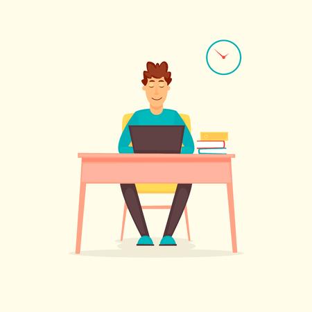 Ragazzo che lavora al computer, lavoro, ufficio, programmatore. Illustrazione vettoriale di design piatto. Archivio Fotografico - 90992727