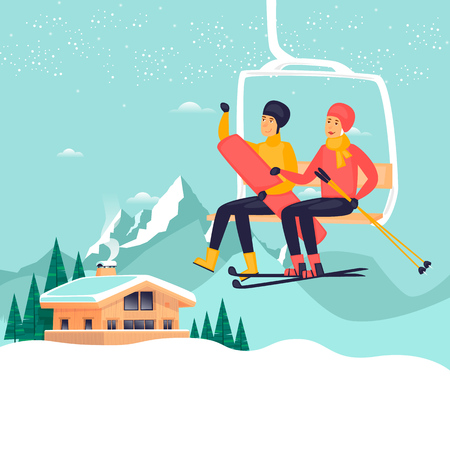 Guy and a girl on a ski lift, skiing and snowboard, winter landscape, chalet. Flat design vector illustration.