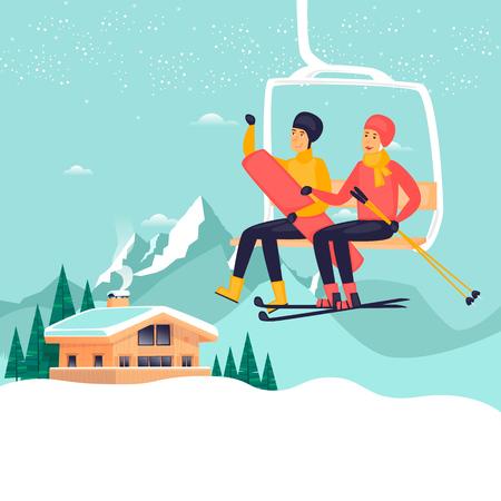 Ragazzo e una ragazza su una sciovia, sci e snowboard, paesaggio invernale, chalet. Illustrazione vettoriale di design piatto. Archivio Fotografico - 90992732