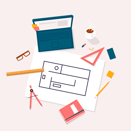 Architect workplace top view. Flat design vector illustration